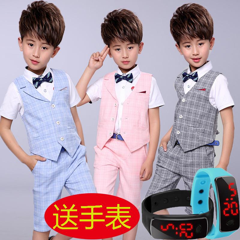 花童儿童礼服 男童礼服儿童小西装套装马甲三件套夏季男孩花童礼服主持人演出服_推荐淘宝好看的花童儿童礼服