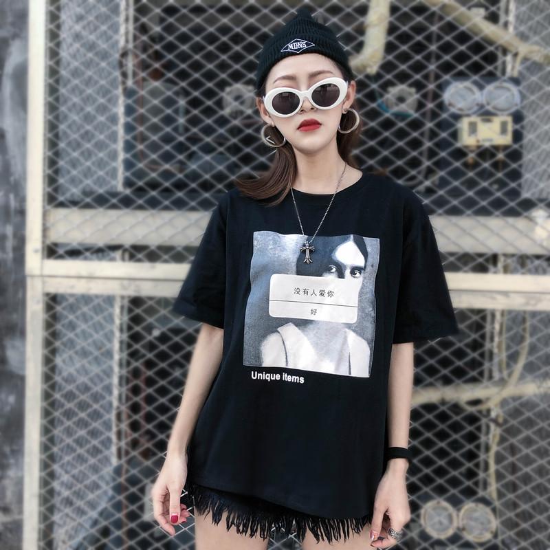 个性t恤 街头BF风个性欧美人像印花短袖T恤女春夏装韩版百搭潮流上衣学生_推荐淘宝好看的女个性t恤