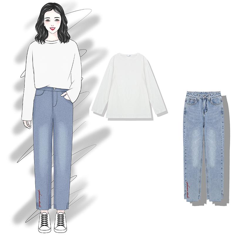 白色牛仔裤 tstz 2018新款chic风刺绣字母阔腿牛仔裤+纯色长袖两件套套装女_推荐淘宝好看的白色牛仔裤