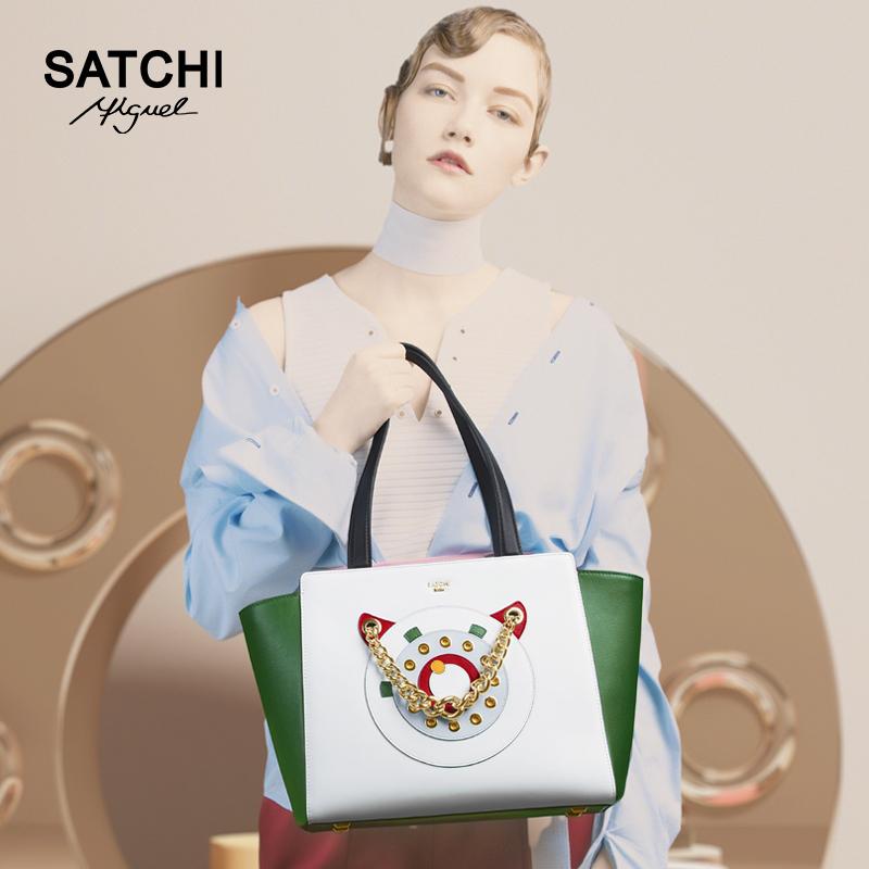 撞色糖果包 Satchi沙驰糖果色真皮女士购物袋 撞色单肩手提女包BR99039-1W_推荐淘宝好看的撞色糖果包