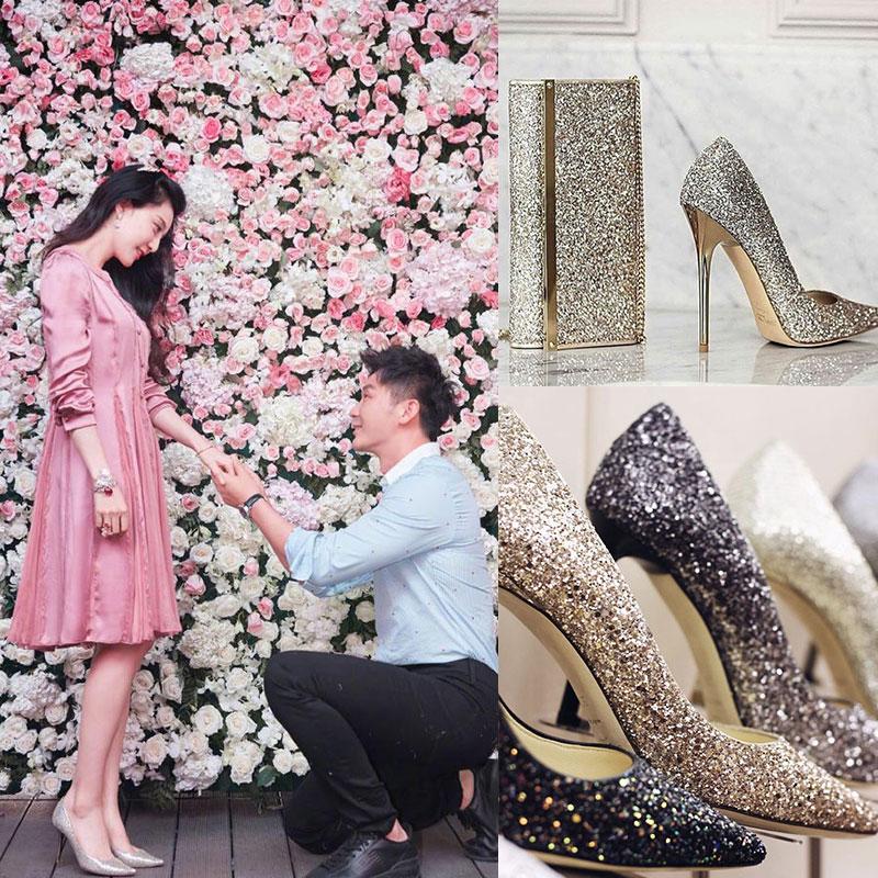 性感高跟鞋 婚鞋女高跟鞋女细跟伴娘鞋新款银色婚纱鞋尖头单鞋性感亮片女鞋春_推荐淘宝好看的女性感高跟鞋