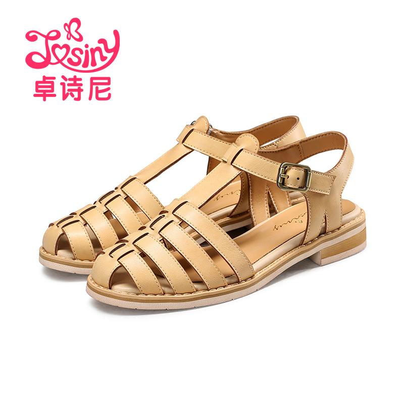 罗马女凉鞋 卓诗尼夏季新款包头凉鞋女休闲低跟粗跟罗马女鞋113710202_推荐淘宝好看的女罗马凉鞋