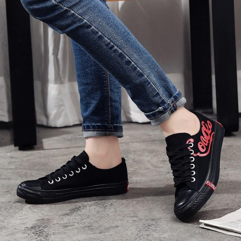 绿色帆布鞋 新款帆布鞋学院低帮防水台 经典 绿色 黑色 女鞋 白色 板鞋学生_推荐淘宝好看的绿色帆布鞋