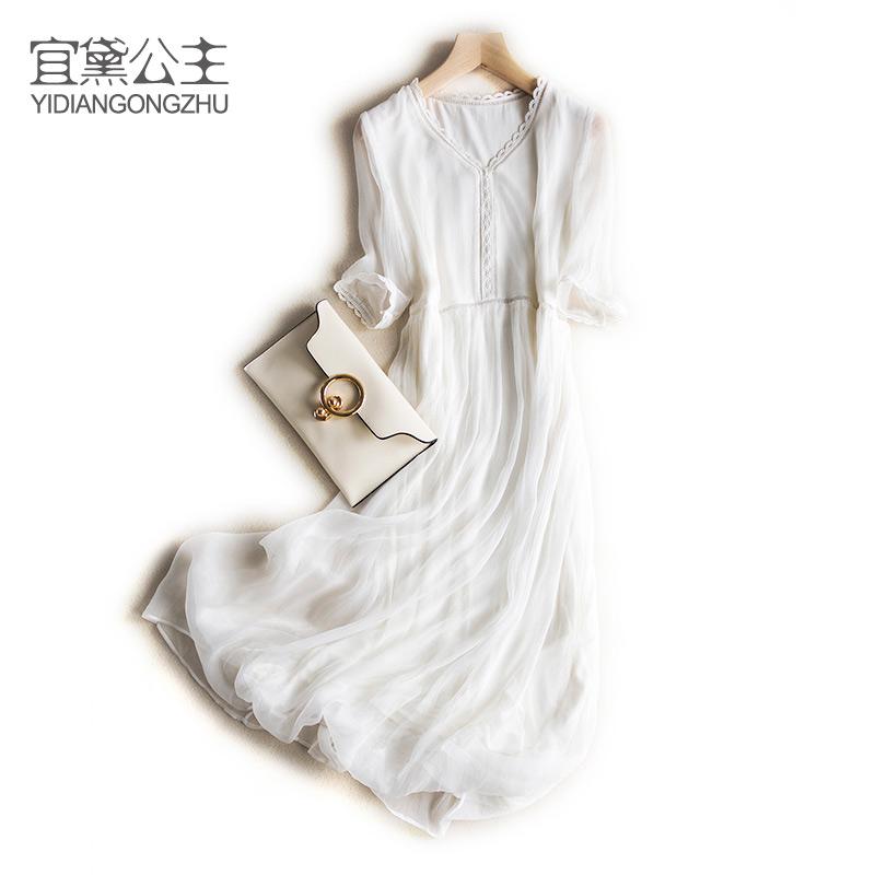 白色修身连衣裙 春夏新品气质修身仙美迷人镂空顺纡真丝长裙七分袖白色连衣裙_推荐淘宝好看的白色修身连衣裙
