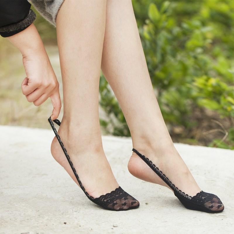 丝袜高跟鞋 女袜子船袜 纯棉浅口夏季薄款前脚掌半截隐形袜子 高跟鞋蕾丝吊带_推荐淘宝好看的女袜高跟鞋