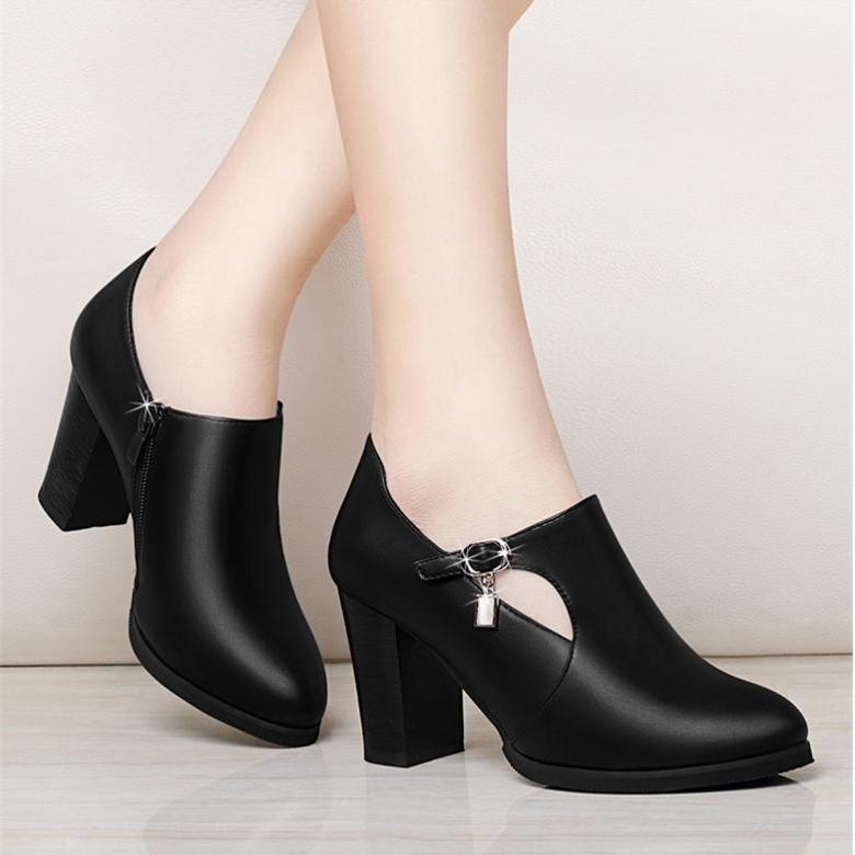 女高跟鞋 大东单鞋女中跟2018新款韩版粗跟高跟鞋圆头秋季女士皮鞋妈妈鞋子_推荐淘宝好看的女高跟鞋