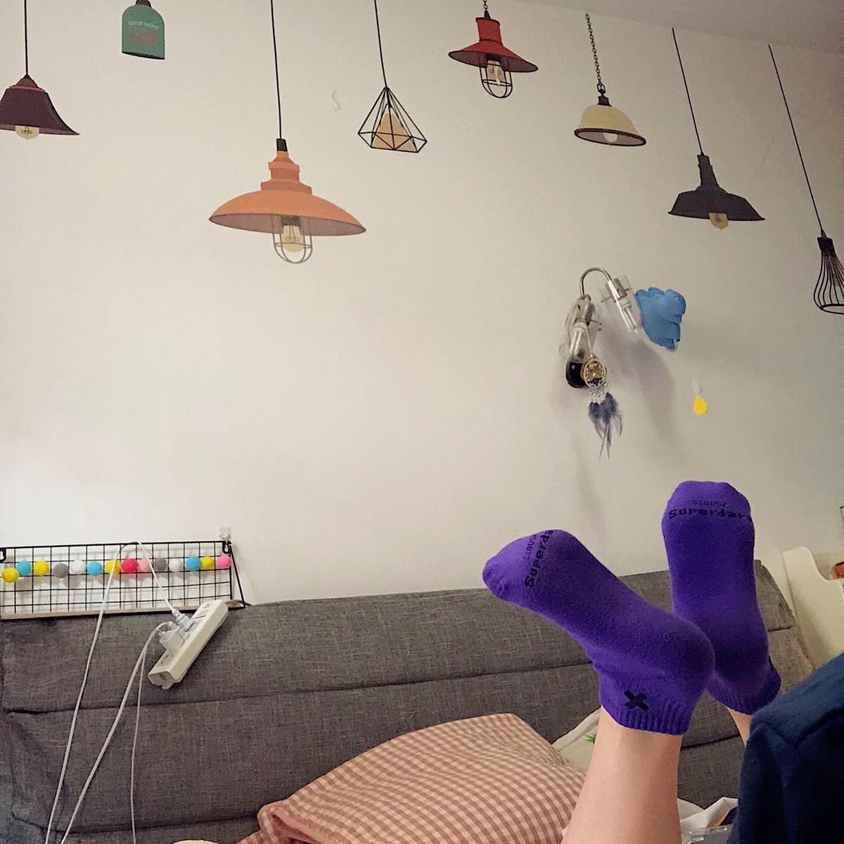 紫色凉鞋 紫色袜子潮牌女紫色袜子男女老爹鞋ins潮袜夏季凉鞋袜宝蓝色短袜_推荐淘宝好看的紫色凉鞋