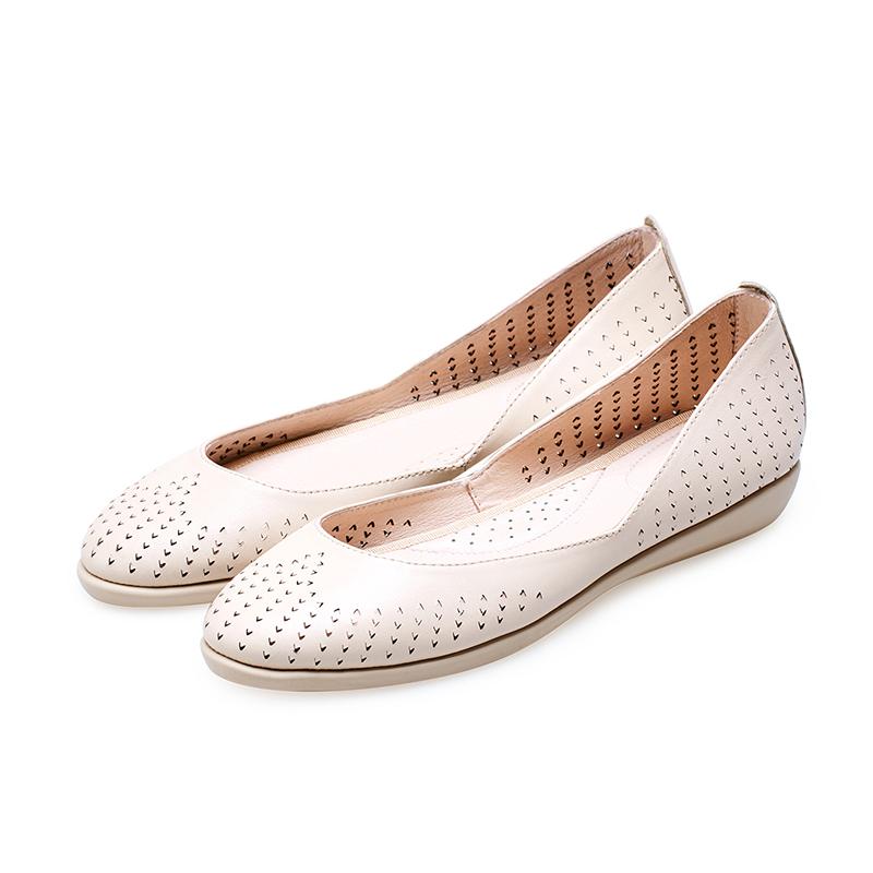 粉红色平底鞋 BATA拔佳2017单鞋女舒适平底通勤女鞋真皮鞋子 粉红色_推荐淘宝好看的粉红色平底鞋