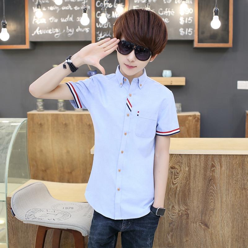 男士衬衫 夏季男士短袖牛仔衬衫青少年韩版修身纯色学生衬衣薄款外套男潮流_推荐淘宝好看的男衬衫