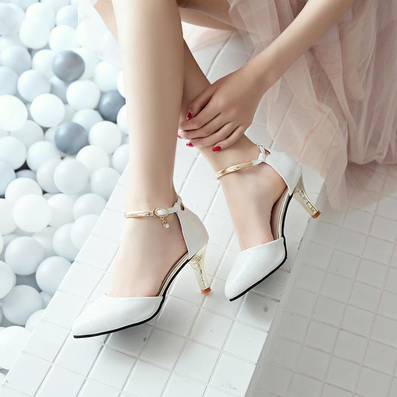 女性高跟鞋 2018夏季新款尖头细跟高跟鞋包头凉鞋女鞋子韩版女士中跟一字扣带_推荐淘宝好看的女高跟鞋