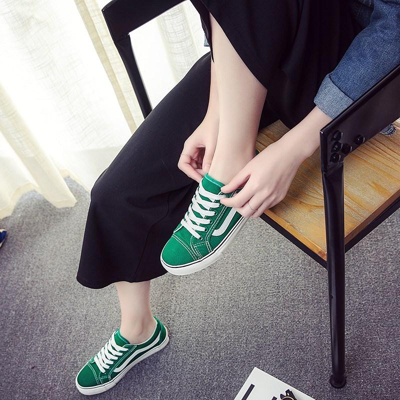 绿色帆布鞋 街拍帆布鞋女2018春季新款学生韩版百搭原宿丑萌绿色布鞋港风板鞋_推荐淘宝好看的绿色帆布鞋