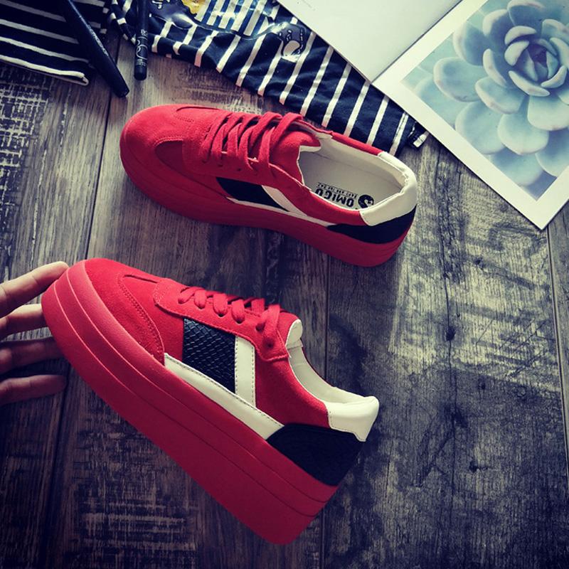 红色松糕鞋 秋冬季新款松糕鞋高跟透气休闲系带鞋厚底摇摇鞋欧美单鞋红色潮鞋_推荐淘宝好看的红色松糕鞋