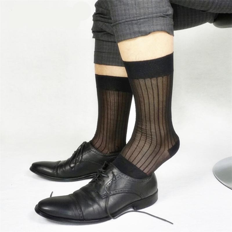 丝袜 织调 男士黑色条纹欧美商务性感中筒锦纶丝袜柔软老式男士丝袜_推荐淘宝好看的丝袜