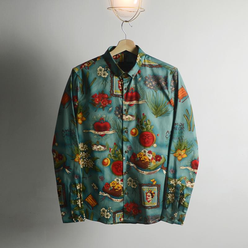 绿色衬衫 BIGGEZI 欧式植物花卉图案绿色修身花衬衫 特色时尚异域风衬衣_推荐淘宝好看的绿色衬衫