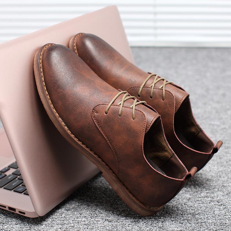 英伦复古板鞋 夏季英伦棕色男鞋韩版潮流平底商务休闲鞋系带青年复古小皮鞋板鞋_推荐淘宝好看的英伦复古板鞋