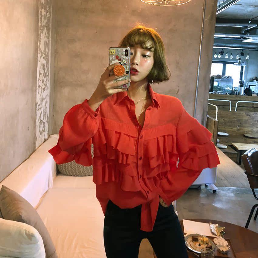 红色衬衫 THESUMEY 店主推荐~早春复古纯色气质木耳花边拼接系扣衬衫女上衣_推荐淘宝好看的红色衬衫