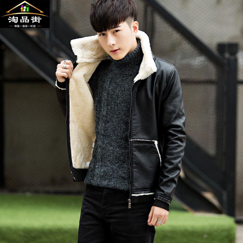 男士皮衣品牌 冬季加绒加厚皮衣男学生翻领皮夹克青年韩版修身皮毛一体保暖外套_推荐淘宝好看的男皮衣