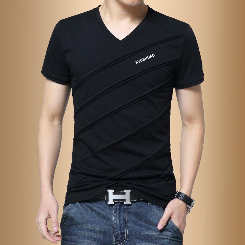 红色T恤 男士纯棉短袖T恤V领夏季韩版潮流男装半袖学生衣服修身体恤打底衫_推荐淘宝好看的红色T恤