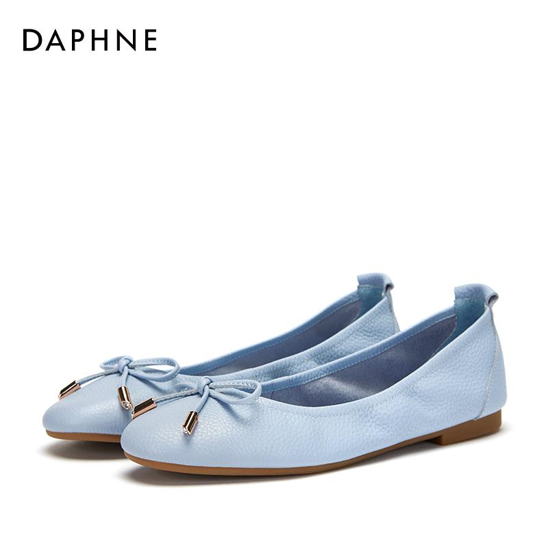 达芙妮豆豆鞋 Daphne达芙妮2018春季新款牛皮套脚蝴蝶结深口圆头豆豆鞋单鞋女_推荐淘宝好看的达芙妮豆豆鞋