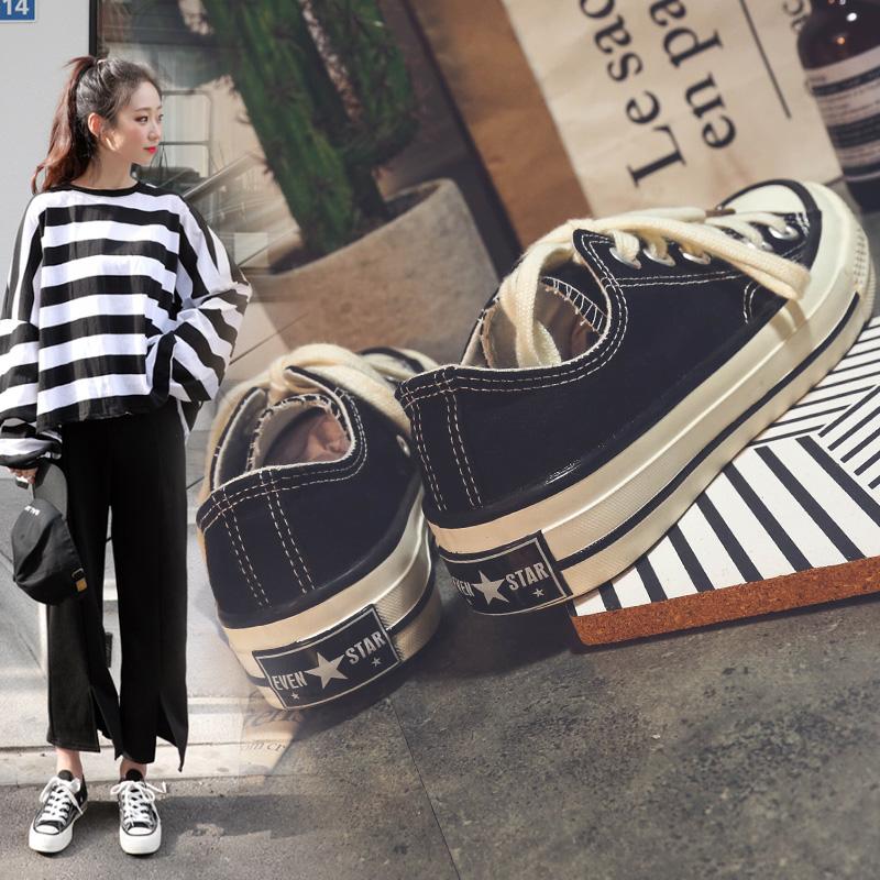 黑色帆布鞋 ins超火万年款黑色学生帆布鞋女1970s韩版原宿ulzzang潮百搭布鞋_推荐淘宝好看的黑色帆布鞋