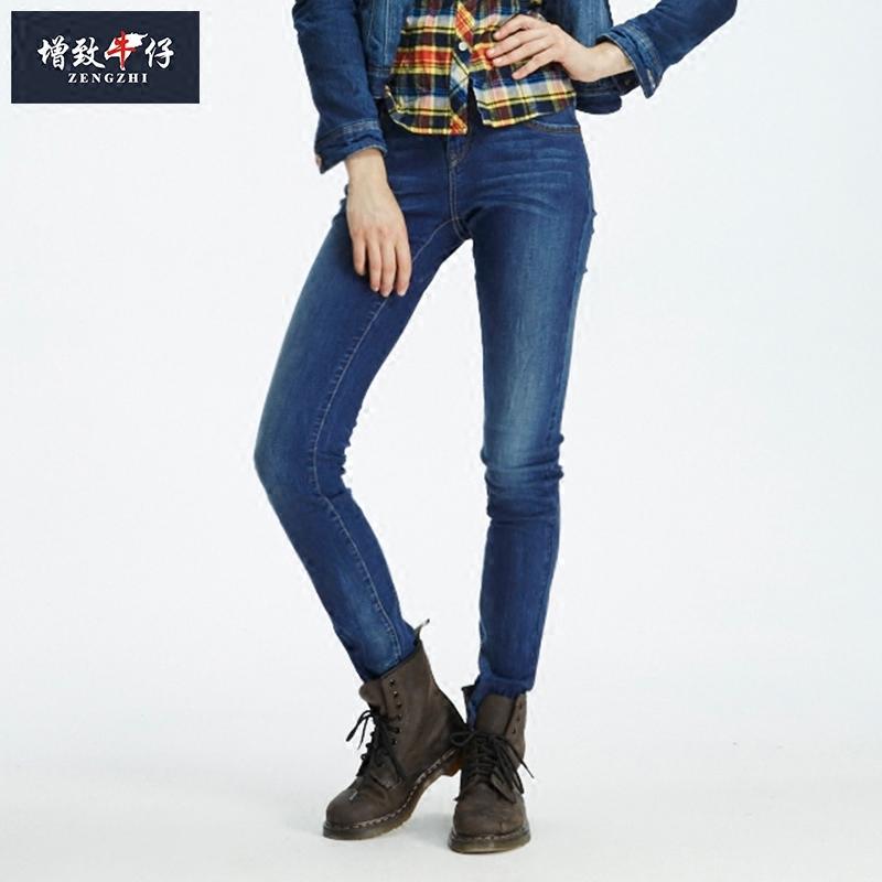 修身直筒牛仔裤 【反季】增致牛仔裤女士高弹力修身显瘦小直筒长裤2017新款281012_推荐淘宝好看的女修身直筒牛仔裤