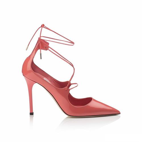 粉红色罗马鞋 2017杨幂同款粉红色尖头绑带高跟鞋镂空漆皮浅口单鞋性感罗马凉鞋_推荐淘宝好看的粉红色罗马鞋