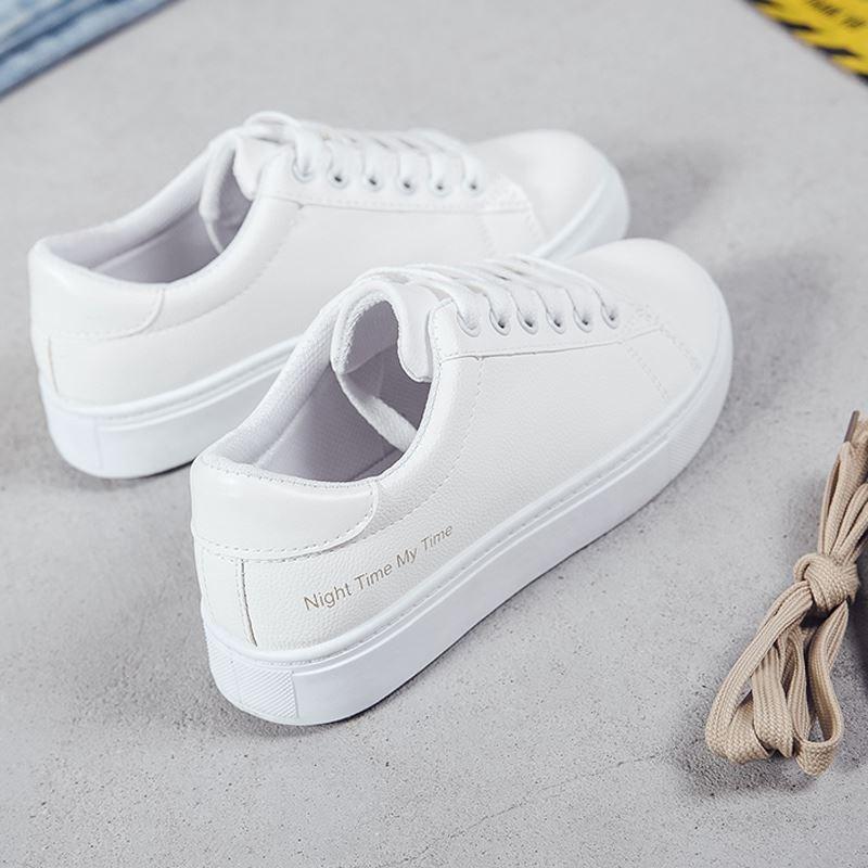 帆布鞋 2018春季新款帆布鞋女韩版潮系带小白鞋学生白鞋平底百搭休闲板鞋_推荐淘宝好看的女帆布鞋