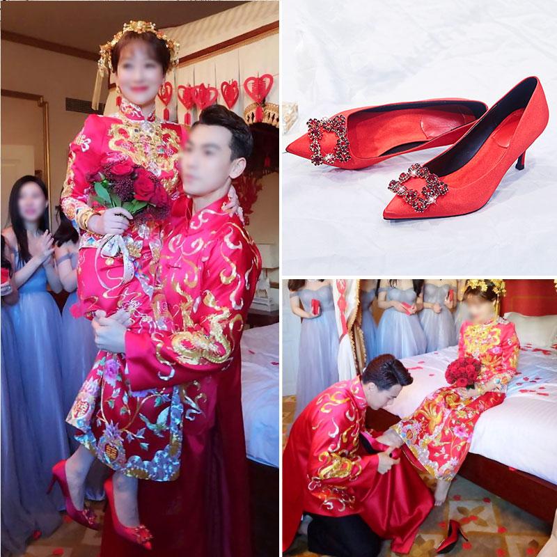 高跟rv鞋子 绸缎鞋女结婚鞋子新娘鞋2018新款百搭方扣伴娘细跟香槟色rv高跟鞋_推荐淘宝好看的高跟rv鞋子