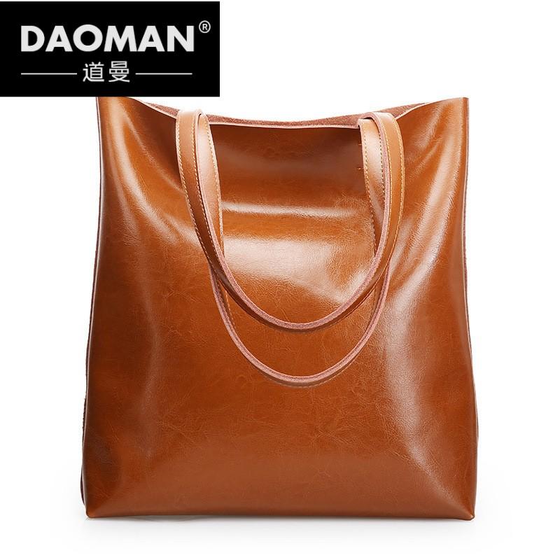 彭丽媛手提包 DAOMAN2018新款真皮女包单肩包简约托特包复古手提包女包xq912_推荐淘宝好看的女手提包