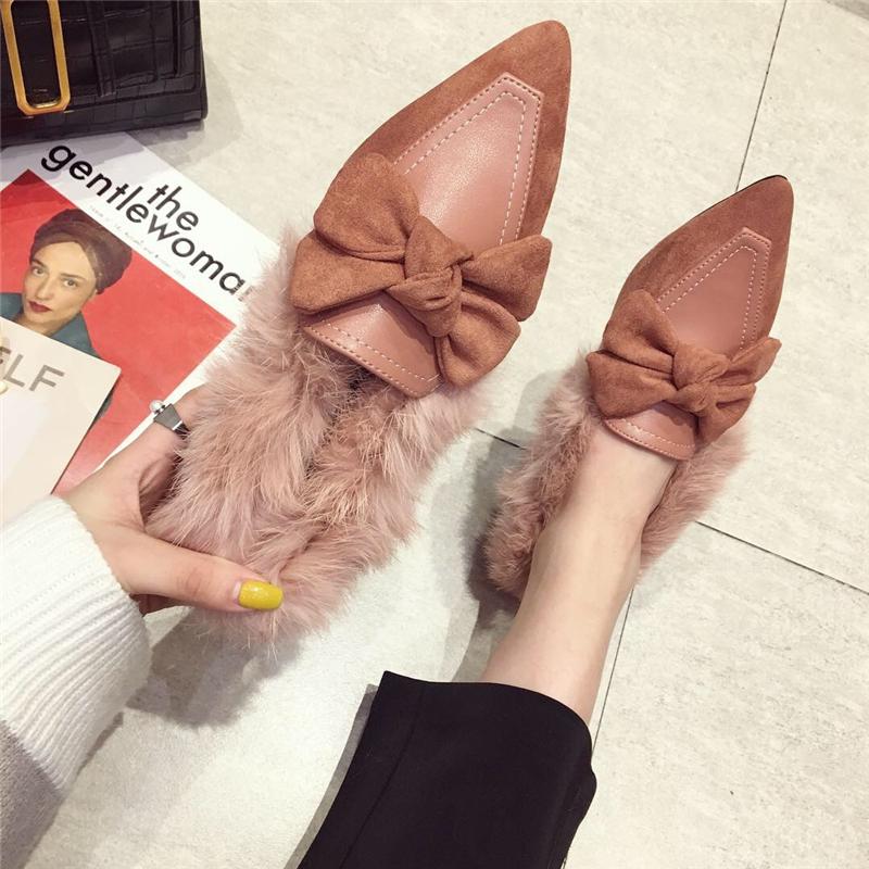 拼接豆豆鞋 韩版时尚拼接兔毛蝴蝶结平底鞋平跟加绒尖头单鞋毛毛鞋豆豆鞋瓢鞋_推荐淘宝好看的拼接豆豆鞋