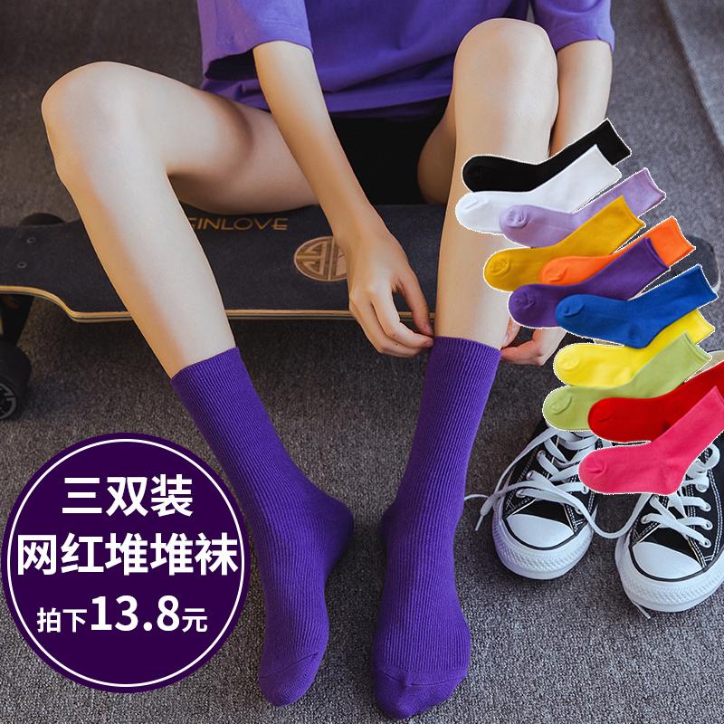 紫色凉鞋 彩色袜子女薄款堆堆袜中筒纯棉夏季韩版学院风韩国紫色潮长袜凉鞋_推荐淘宝好看的紫色凉鞋