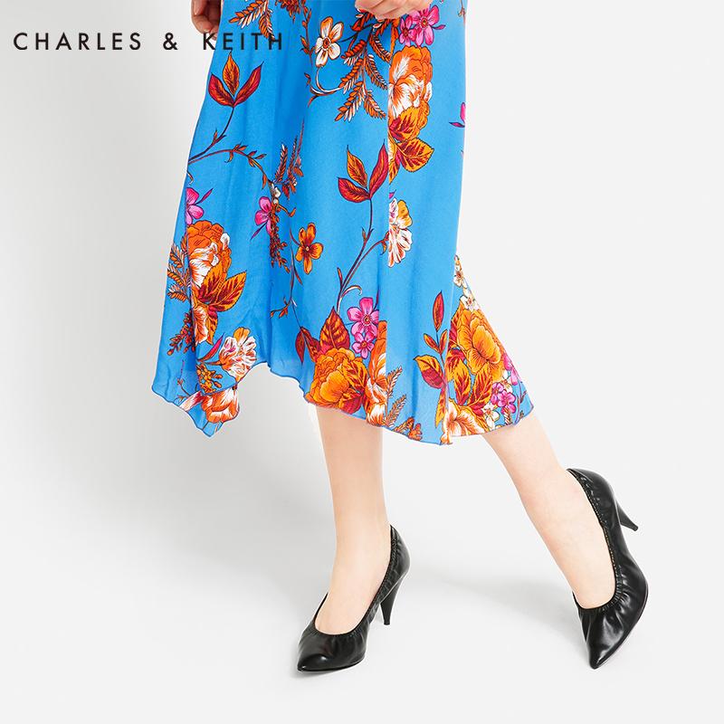 尖头高跟单鞋 CHARLES&KEITH女士单鞋CK1-60390303尖头褶皱时尚高跟鞋奶奶鞋_推荐淘宝好看的女尖头高跟单鞋