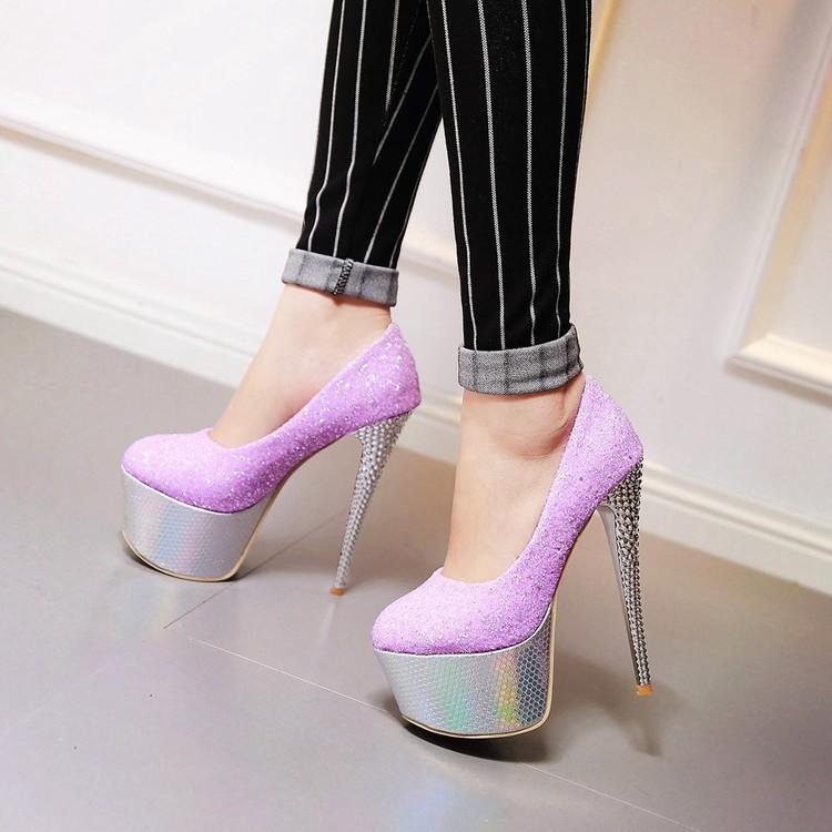 紫色厚底鞋 春季性感亮片单鞋浅口厚底超高跟鞋跟高16厘米紫色 蓝色 粉色女鞋_推荐淘宝好看的紫色厚底鞋