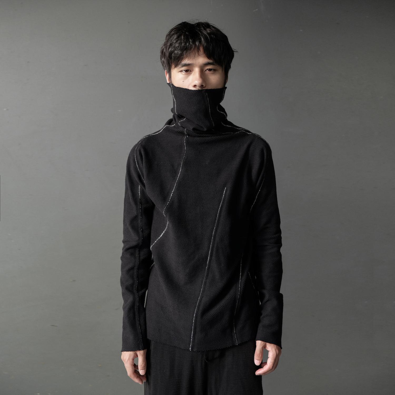 男士套头针织衫 XIACHI黑色弹力针织衫高领套头打底衫长袖纯棉套头衫立裁男装秋款_推荐淘宝好看的男套头针织衫