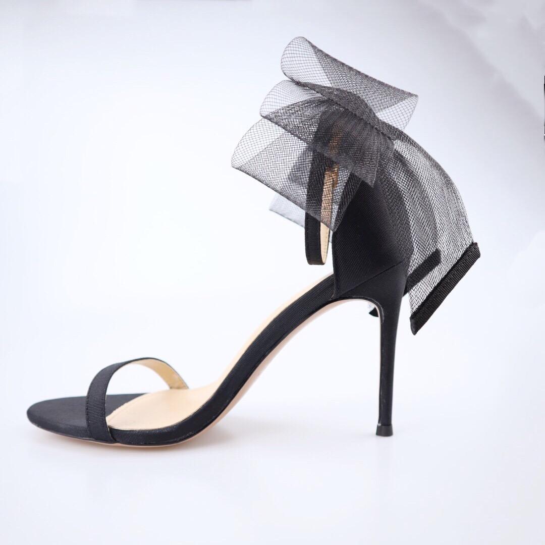女士高跟凉鞋 2019夏季新款高跟鞋一字扣百搭蝴蝶结凉鞋细高跟仙女风_推荐淘宝好看的女高跟凉鞋