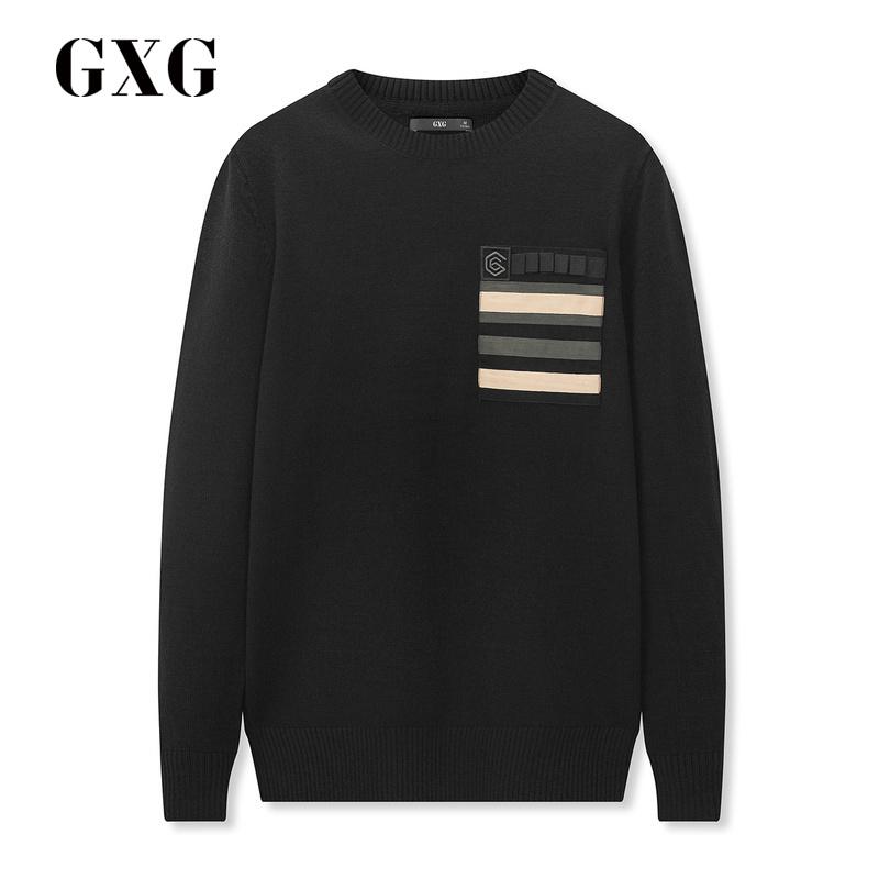 男士针织衫 GXG男装 2018春季新品男士时尚黑色圆领套头毛衫针织衫#181820188_推荐淘宝好看的男针织衫