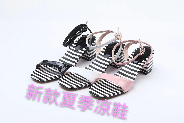 粉红色罗马鞋 夏季精品粗跟百搭凉鞋罗马鞋条纹黑色粉红色白色橡胶露趾中空日常_推荐淘宝好看的粉红色罗马鞋