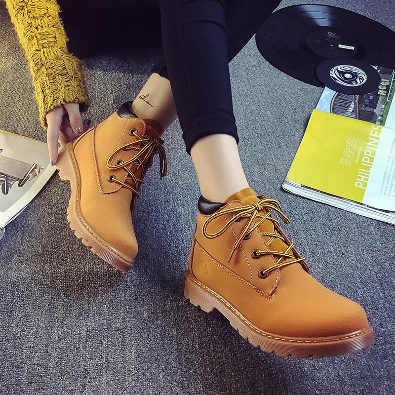黄色高帮鞋 17春季工装黄色马丁靴 GD同款复古大头靴皮面中高帮男女靴情侣鞋_推荐淘宝好看的黄色高帮鞋