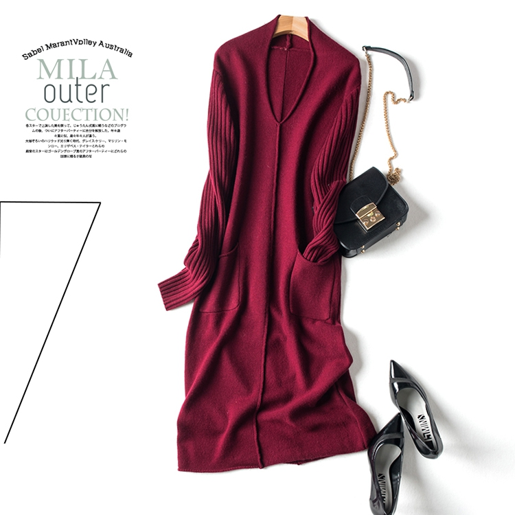 紫色连衣裙 秋冬新品~ 18秋长袖95羊毛针织连衣裙_推荐淘宝好看的紫色连衣裙