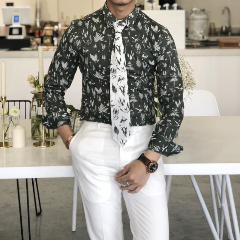 绿色衬衫 2018夏季男士薄款修身长袖碎花衬衫韩版领带设计时尚衬衣潮男_推荐淘宝好看的绿色衬衫
