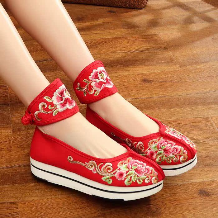红色松糕鞋 老北京布鞋透气休闲女单鞋子松糕跟绣花鞋复古中国风中式红色婚鞋_推荐淘宝好看的红色松糕鞋