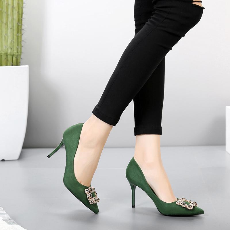 绿色高跟鞋 绿色高跟鞋 绒面裸粉百搭OL气质性感显瘦方扣水钻尖头细跟单鞋女_推荐淘宝好看的绿色高跟鞋