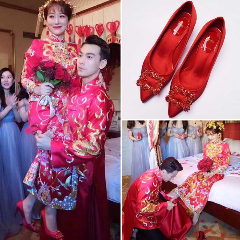 高跟rv鞋子 婚鞋女2018新款新娘鞋结婚鞋子RV红色高跟鞋平底粗跟敬酒韩版红鞋_推荐淘宝好看的高跟rv鞋子