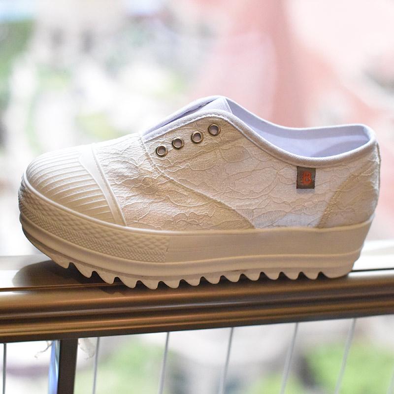 白色厚底鞋 2018夏季新款蕾丝乐福鞋女网纱松糕厚底鞋子白色女34小码韩国潮鞋_推荐淘宝好看的白色厚底鞋