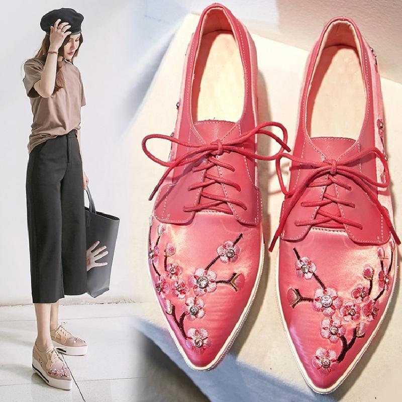粉红色坡跟鞋 春秋季尖头松糕底坡跟高跟鞋真皮单鞋乐福鞋樱花粉红色花朵女鞋子_推荐淘宝好看的粉红色坡跟鞋