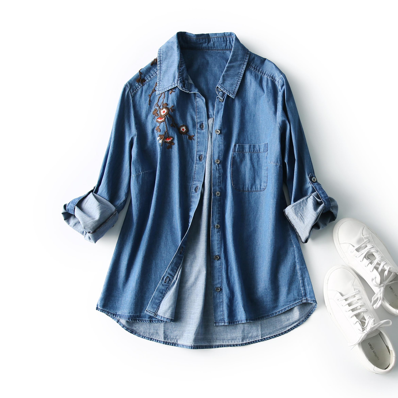 长袖牛仔衬衫 贝丽花园 16512 棉+天丝 可翻折袖 梅花刺绣 牛仔衬衫 长袖衬衫女_推荐淘宝好看的女长袖牛仔衬衫