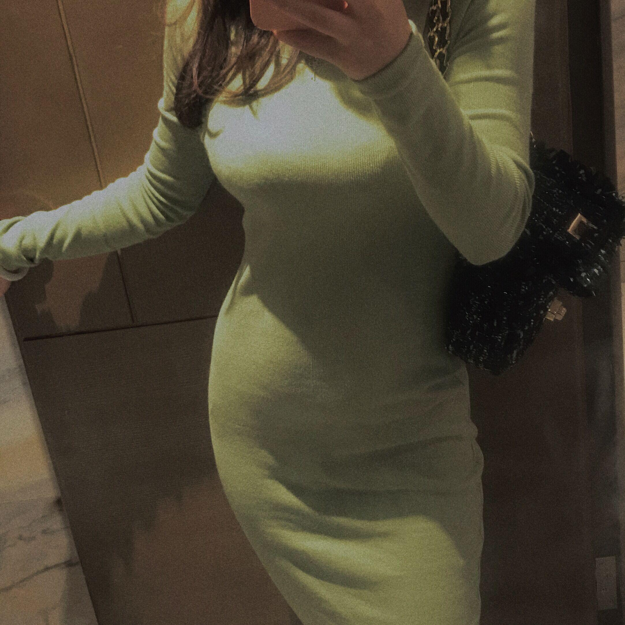 紧身连衣裙 green大姐姐原创优雅圆领长袖紧身包臀连衣裙打底针织中长裙_推荐淘宝好看的紧身连衣裙