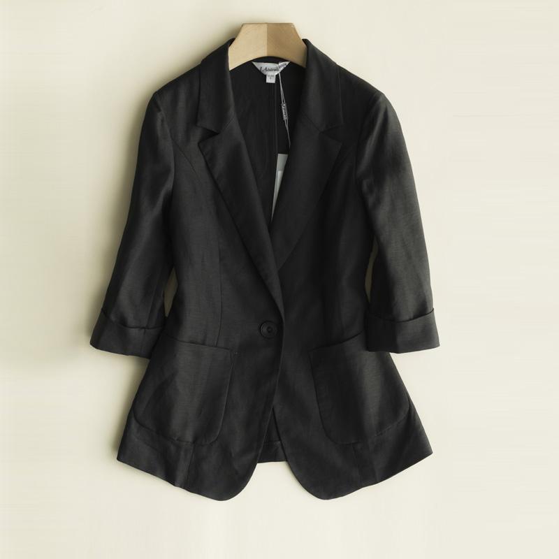 女士小西服 新款夏女式韩版棉麻一粒扣7分袖大码小西装显瘦西服外套_推荐淘宝好看的女小西装