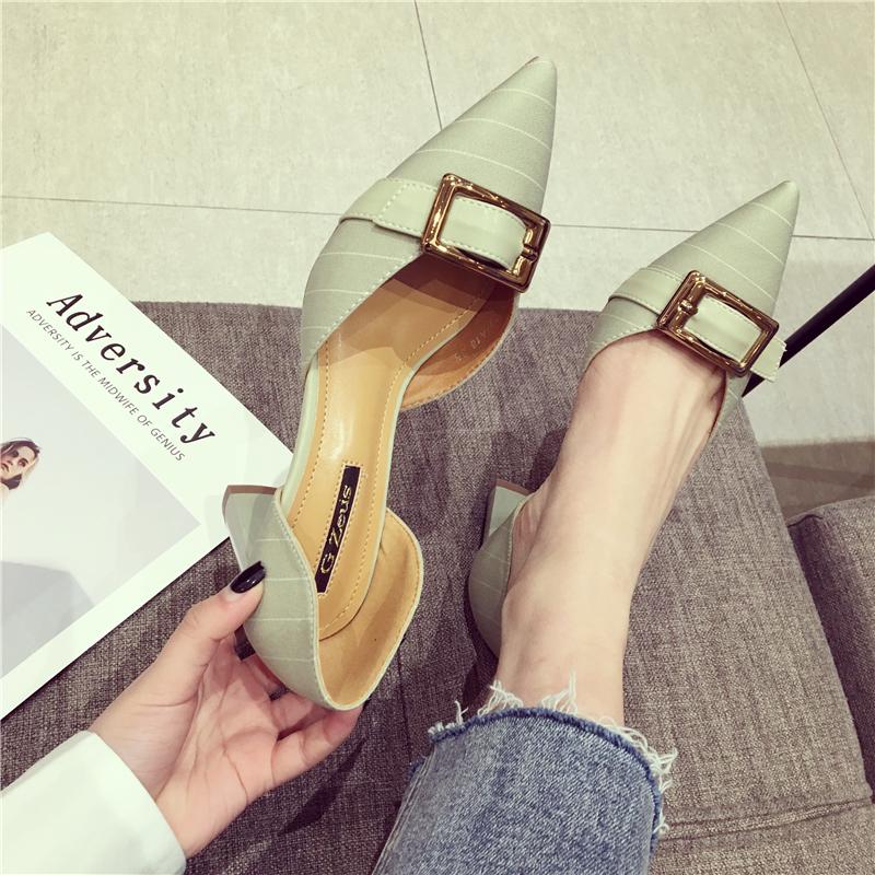 绿色尖头鞋 2018春夏新款时尚女鞋尖头粗跟浅口绿色简约韩版中跟单鞋_推荐淘宝好看的绿色尖头鞋