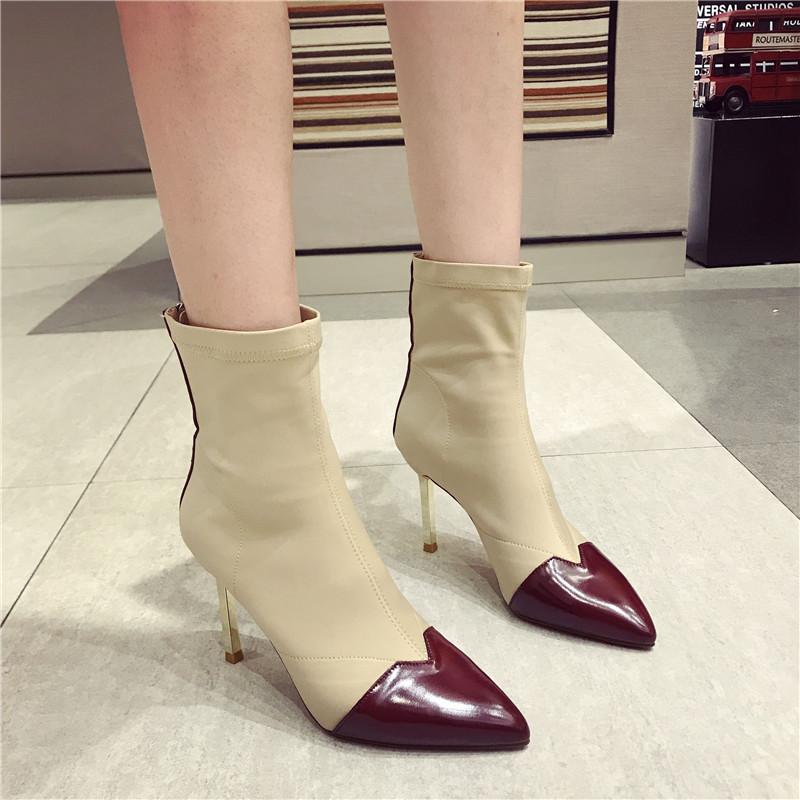 马丁短靴 第2眼男人秋季新款时尚短靴袜子靴女时尚拼色尖头细跟马丁靴女_推荐淘宝好看的女马丁短靴